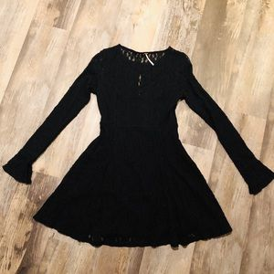 Free People black lace skater dress.